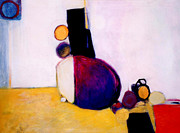 Marlene Burns Paintings - Early Blob Having A Ball by Marlene Burns