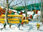 School Painting Framed Prints - Early Bus Framed Print by Art Scholz