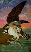 Talons Painting Prints - Early Catch-Sunrise on the Ogeechee Print by Teresa Grace Mock