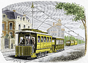 Tram Prints - Early Electric Tram Print by Sheila Terry