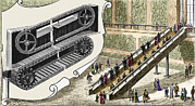 Man Machine Prints - Early Escalator, 1894 Print by Sheila Terry
