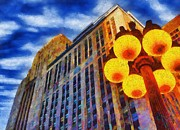 Street Lamps Digital Art Prints - Early Evening Lights Print by Jeff Kolker