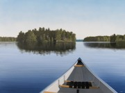 Water Painting Prints - Early Evening Paddle  Print by Kenneth M  Kirsch