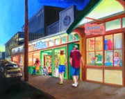 Store Fronts Painting Metal Prints - Early Evening Shoppers Metal Print by Bob Newman