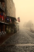 Savannah Architecture Framed Prints - Early Fog on River Street Framed Print by Leslie Lovell