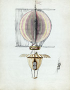 Aviation Pioneers Prints - Early Hot Air Balloon Design, 1783 Print by Library Of Congress