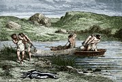 European Artwork Prints - Early Humans Fishing Print by Sheila Terry