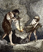 European Artwork Prints - Early Humans Making Fire Print by Sheila Terry