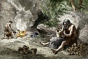 European Artwork Prints - Early Humans Making Pottery Print by Sheila Terry