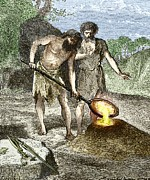 European Artwork Photo Posters - Early Humans Smelting Bronze Poster by Sheila Terry