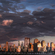 New York Skyline Paintings - Early in the Morning by Stefan Kuhn