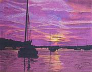 Seascape Drawings Originals - Early Morn in Maine by Tobi Czumak
