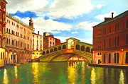 Canal Mixed Media - Early Morning at Rialto by Dan Haraga