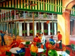 Square Paintings - Early Morning at the Cafe Du Monde by Diane Millsap