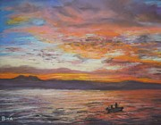 Dawn Pastels Posters - Early Morning Catch Poster by Dianne  Ilka