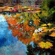 Early Morning Fall Colors Print by John Lautermilch