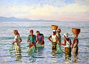 Reflections In Water Painting Posters - Early Morning Fishing Poster by Roelof Rossouw