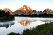 Early Morning Fog Oxbow Bend Print by Paul Cannon