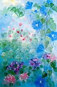 Morning Glories Paintings - Early Morning Glory by Linda Rauch