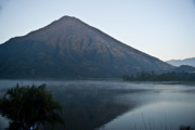Volcano Prints - Early Morning Mist Lake Atitlan Guatemala Print by Douglas Barnett