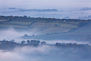 Foggy Day Prints - Early Morning Mist On Hills In South Print by Nigel Hicks
