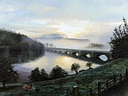 Misty Bridge Posters - Early Morning Mist Poster by Trevor Neal