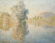 Impressionism Landscape Framed Prints - Early Morning on the Seine at Giverny Framed Print by Claude Monet