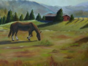 Farm Buildings Painting Originals - Early Morning Pasture by Peg Whitacre