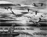 Duck Hunting Drawings - Early Morning by Peter Piatt