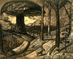 Trees Drawings Framed Prints - Early Morning Framed Print by Samuel Palmer