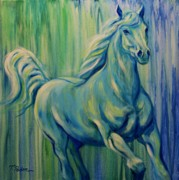 Abstract Horse Paintings - Early Morning Seaside Canter by Theresa Paden