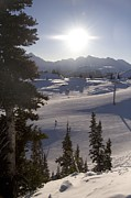 Scenic Views Prints - Early Morning Skiing Print by Taylor S. Kennedy