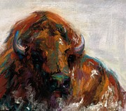 American Bison Drawings Prints - Early Morning Sunrise Print by Frances Marino