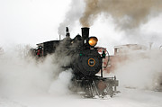 Colorado Railroad Museum Prints - Early Morning Winter Steam Up Print by Ken Smith