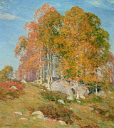 Early Metal Prints - Early October Metal Print by Willard Leroy Metcalf