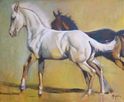Colts Paintings - Early Race by Mary Leslie