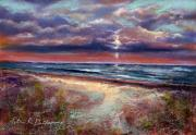 Nj Pastels - Early September Beach by Peter R Davidson