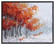 Red Leaves Tapestries - Textiles - Early Snow 7 by Lorraine Roy