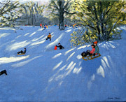 Sledging Prints - Early snow Print by Andrew Macara