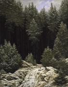 Winter Road Scenes Prints - Early Snow Print by Caspar David Friedrich