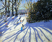 Sledging Prints - Early snow Darley Park Print by Andrew Macara