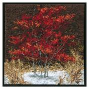Red Leaves Tapestries - Textiles - Early Snow by Lorraine Roy