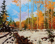 Aspen Trees Paintings - Early snow of Santa Fe National Forest by Gary Kim