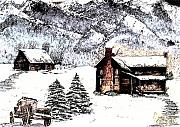 Snow Scene Mixed Media Prints - Early Snowfall Print by Penny Everhart