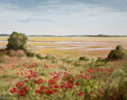 Marsh Scene Paintings - Early Spring Poppies by Glenda Cason