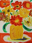 Early Drawings Prints - Early Summer Flowers Print by Mary Carol Williams