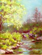 Colorado Trees Pastels Prints - Early Summer on the Big Thompson River Print by Grace Goodson