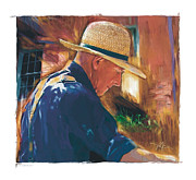 Straw Hat Mixed Media Posters - Early To Rise . . . Poster by Bob Salo