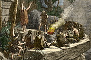 Cavemen Art - Early Use Of Fire by Sheila Terry