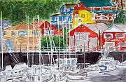 Boats In Harbor Prints - Early Visitor Print by Larry Wright